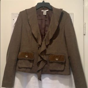 CAbi Kensington Brown Tweed Blazer size 8
